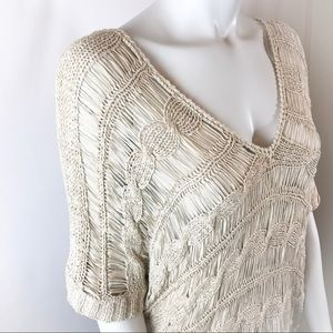 BCBGMaxAzria Sweaters - BCBGMAXAZRIA Oversized Crochet Knit Sweater Top